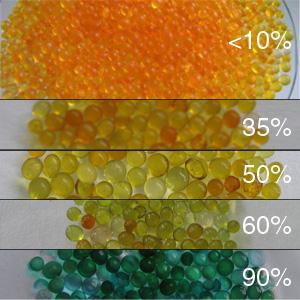 Silica gel moisture indicator beads